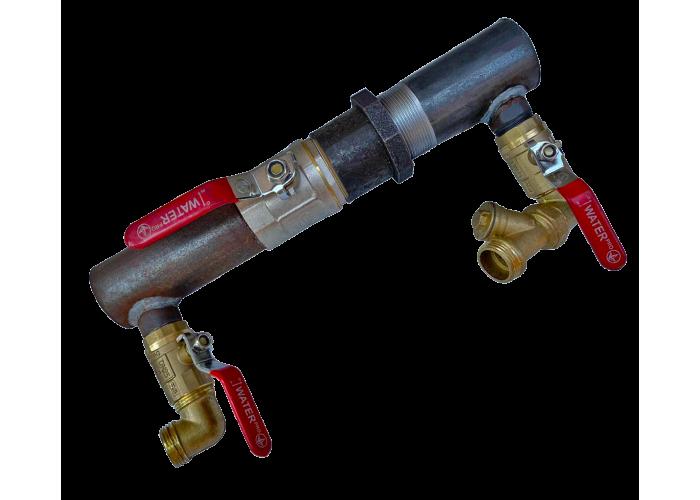 """Байпас стальной для отопления короткая база 2"""" (50 мм) с краном"""