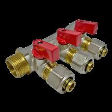 """Коллектор 3 выхода 3/4"""" - D 16 мм с шаровым краном для металлопластиковых труб"""