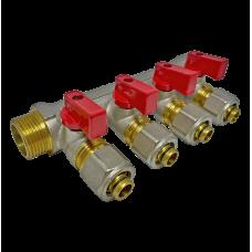 """Коллектор 4 выхода 3/4"""" - D 16 мм с шаровым краном для металлопластиковых труб"""