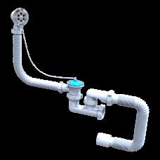 Сифон для ванны и глубоких поддонов Santehplast FLAT steamer нержавеющий с переливом и гибкой трубой 40х50 (регулируемый)
