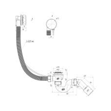 Перелив полуавтомат с прямоточным сифоном, с переходной трубой 45° 40*50 580мм (ручка пластик хромированный)